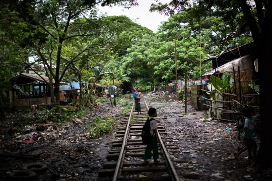 A railway running through a poor neighbourhood in eastern Yangon.