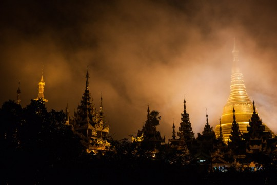 View of the Shwedagon Pagoda during a heavy monsoon downpour.
